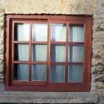 new brown timber sash window