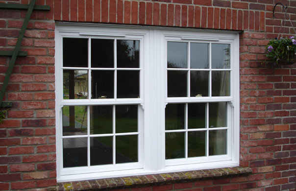 2 white sash windows